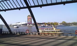 A view across the river when leaving Amsterdam train station