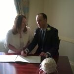 Andrew and Louise sign on the dotted line